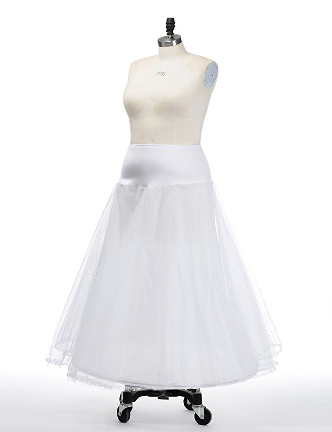 Bridal Skirt 1 Hoop Petticoat Long A-type Tulle Skirts Womens Underskirt For Wedding Dress Lolita