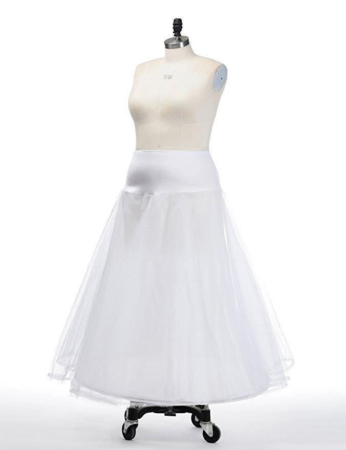 Bridal Skirt 1 Hoop Petticoat Long A-type Tulle Skirts Womens Underskirt For Wedding Dress Lolita