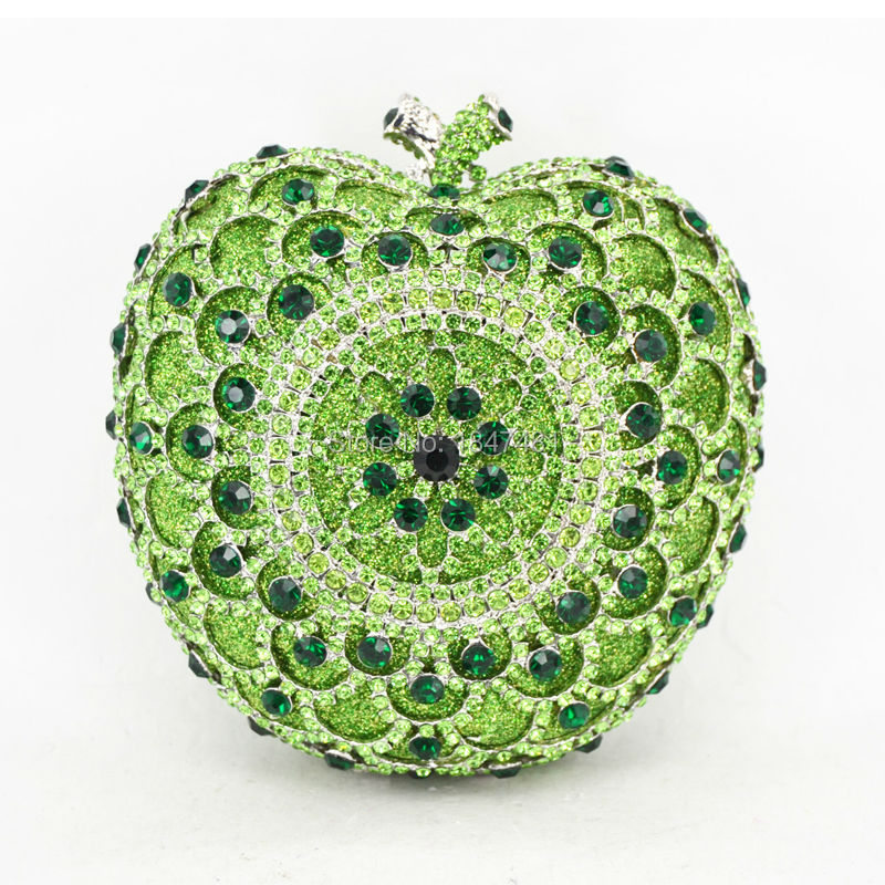 Laisc verde apple forma bolsas de embrague de lujo crystal apple partido bolsos