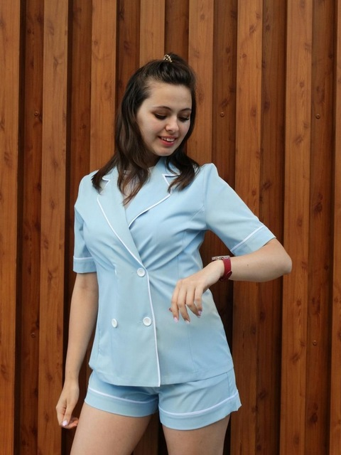 autumn leisure white edge decoration sky blue lighted color trends fashion office lady double button pure color suit