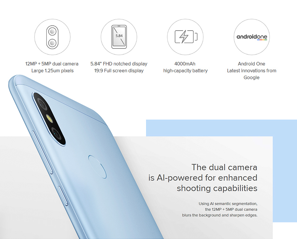 """In Stock! Global Version Xiaomi Mi A2 Lite 4GB 64GB Mobile Phone 5.84"""" Full Screen Snapdragon 625 AI Dual Cameras Android 8.1 CE 3"""