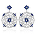 Silver-Tone White Gold Earring Cubic Zirconia Studded Filigree Blue Stone Big Round Floral Drop Fashion Earrings