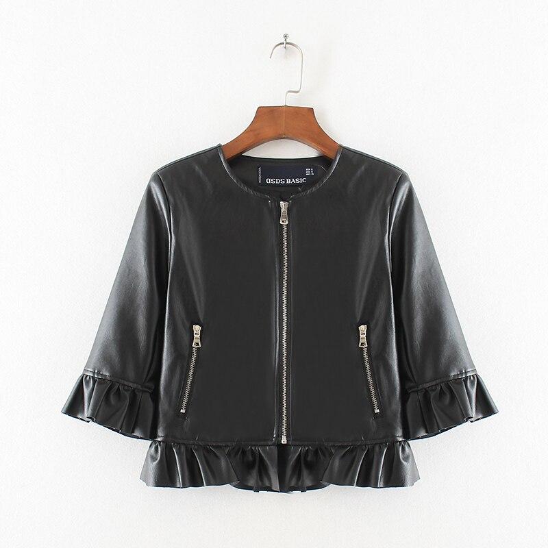 2017 Autumn Women Ruffles Faux Pu   Leather   Jacket Three-Quarter Sleeve O Neck Zipper Black Short Ladies Basic Jacket Fashion Coat