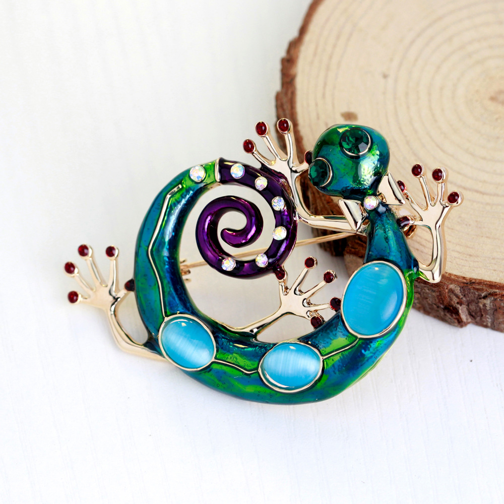 Брошки MloveAcc Blue Enamel Lizard Gecko Snake for Women - Модні прикраси - фото 2