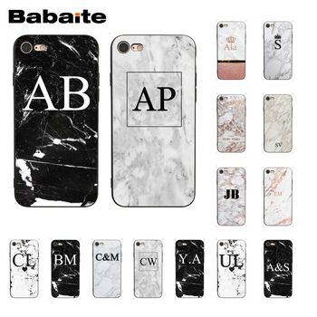 Babaite MONOGRAM MARBLE INITIALS DIY Painted Phone Case for iPhone 8 7 6 6S Plus X XS MAX 5 5S SE XR Cover