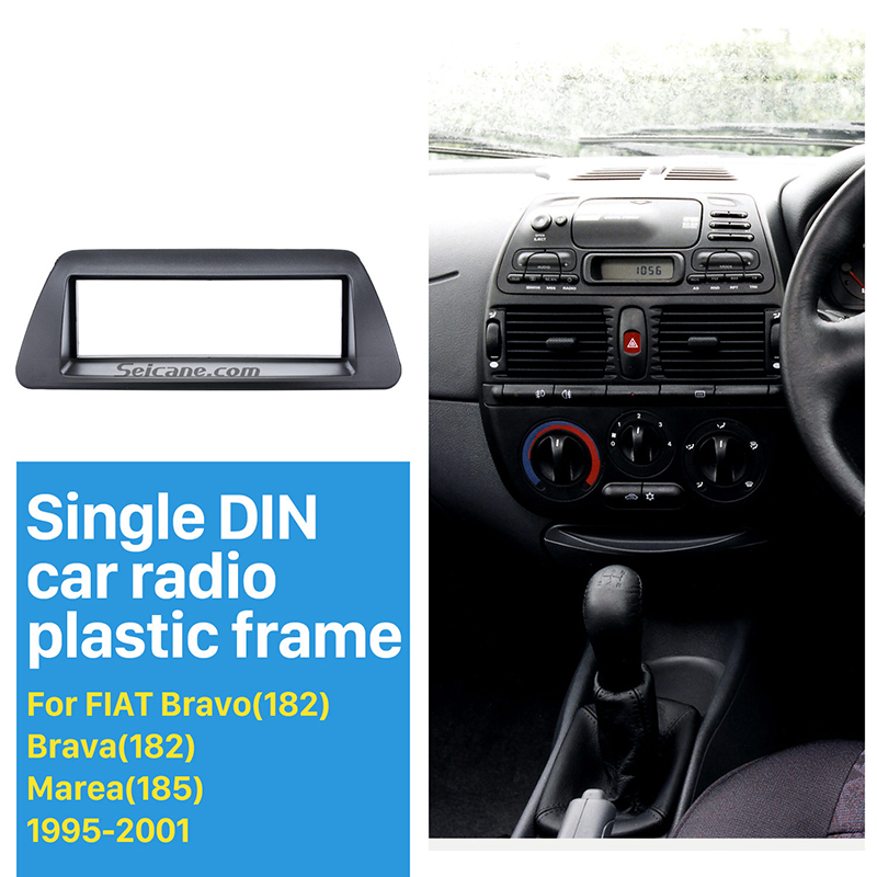 Seicane Perfect New 1 Din Car Radio Fascia for 1995-2001 FIAT Bravo 182 Brava 182 Marea 185 Panel Frame Audio Cover Trim Bezel