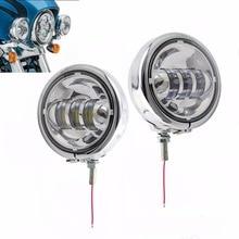 4 1/2 «4.5 дюймов LED вспомогательный пятно туман прохождения свет лампы с Корпус кольцо кронштейн для Harley Touring electra Glide
