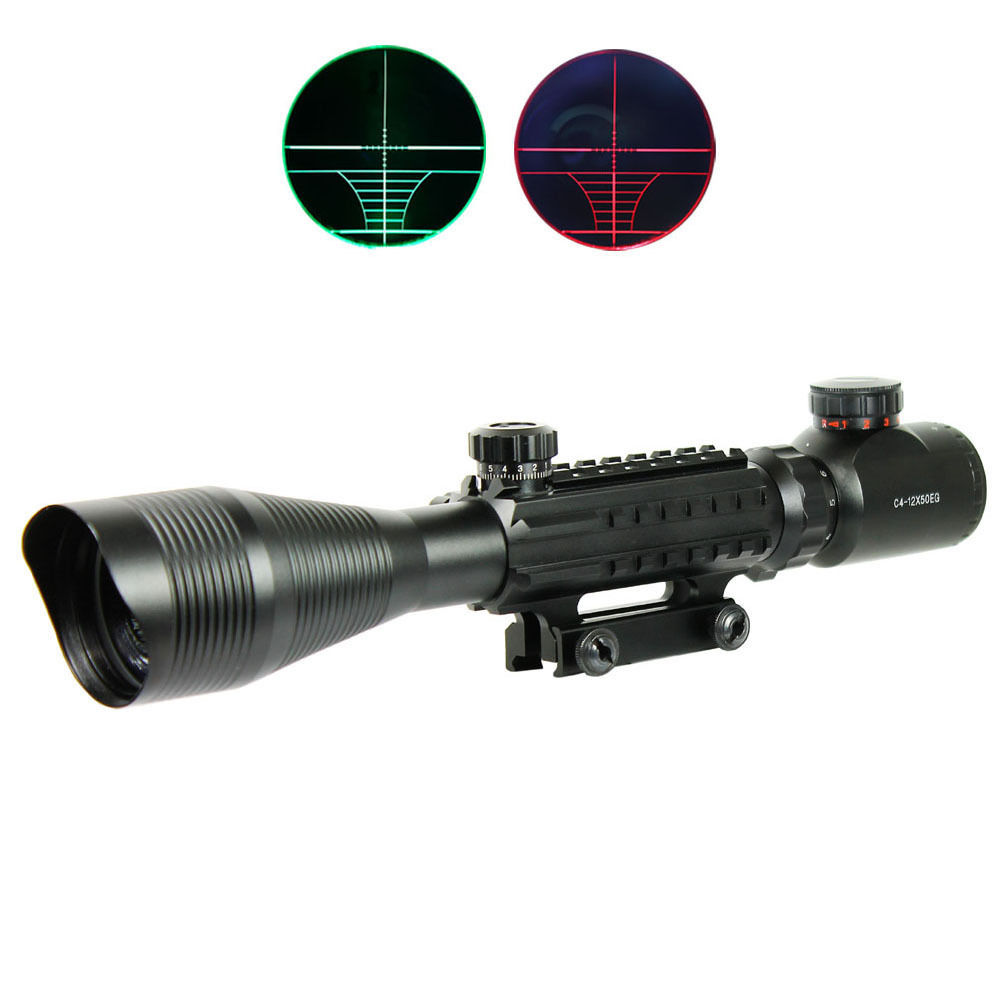4-12X50 Tactical Optical Rifle Scope Red Green Dual illuminated w/ Side Rails & Mount Hunting Airsoft Chasse Caza  telescopica airsoft c4 12x50 tactical optical rifle scope red green dual illuminated w side rails