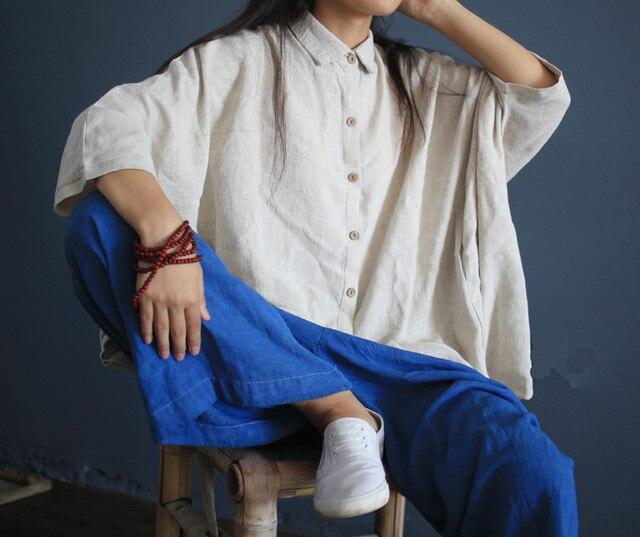 Women White Linen loose shirts long sleeve turn down collar blouse casual Plus Size blusas Feminine Blouse Retro Shirt Camisas 2