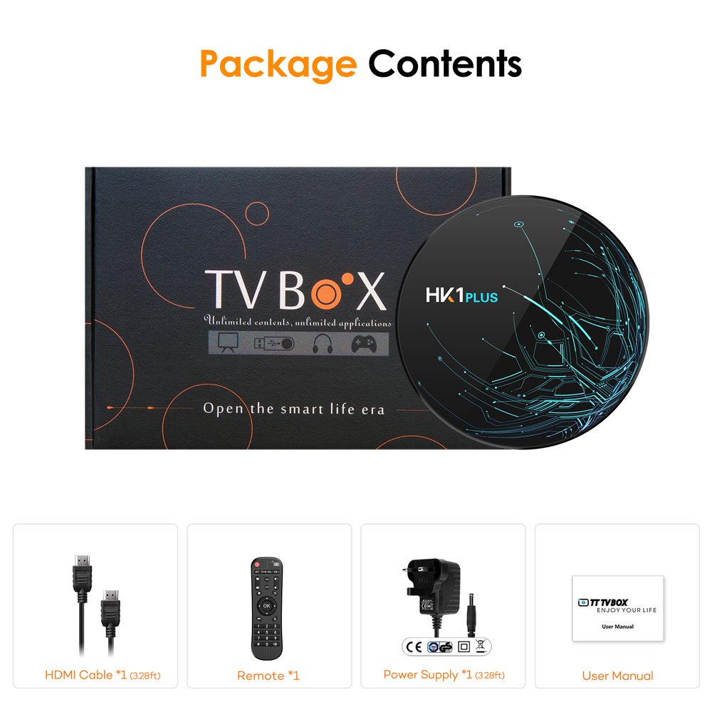 Bqeel TV BOX Android 9.0 Smart TV BOX HK1PLUS Amlogic S905X2 DDR4 4GB 64G Wifi TV Box Google Player 4K 3D Android TV décodeur - 6