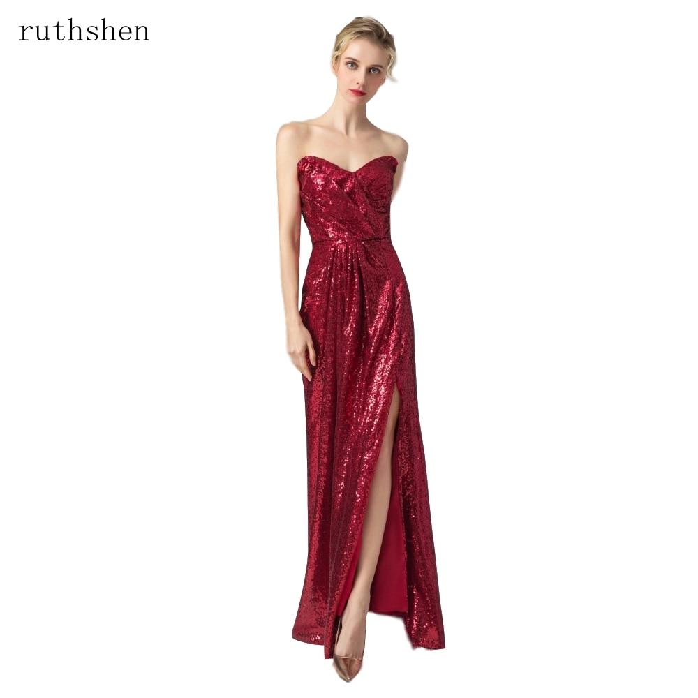 ruthshen Reflective Dress Party Gown Slit Formal Prom Dresses Vestido De Festa Long Evening Dress Sequined Sparkle Elegant Women-in Evening Dresses from Weddings & Events    1
