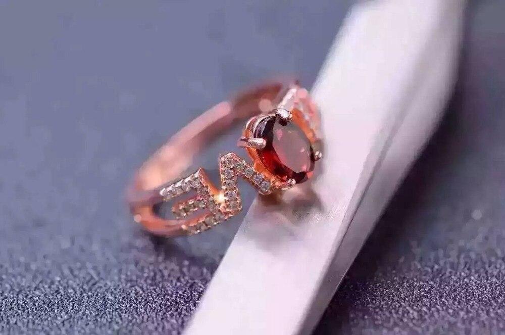 f45d96ab5aac Natural rojo granate joya anillo de piedras preciosas naturales anillo de plata  esterlina S925 moda elegante amor romántico regalo de la muchacha de las ...
