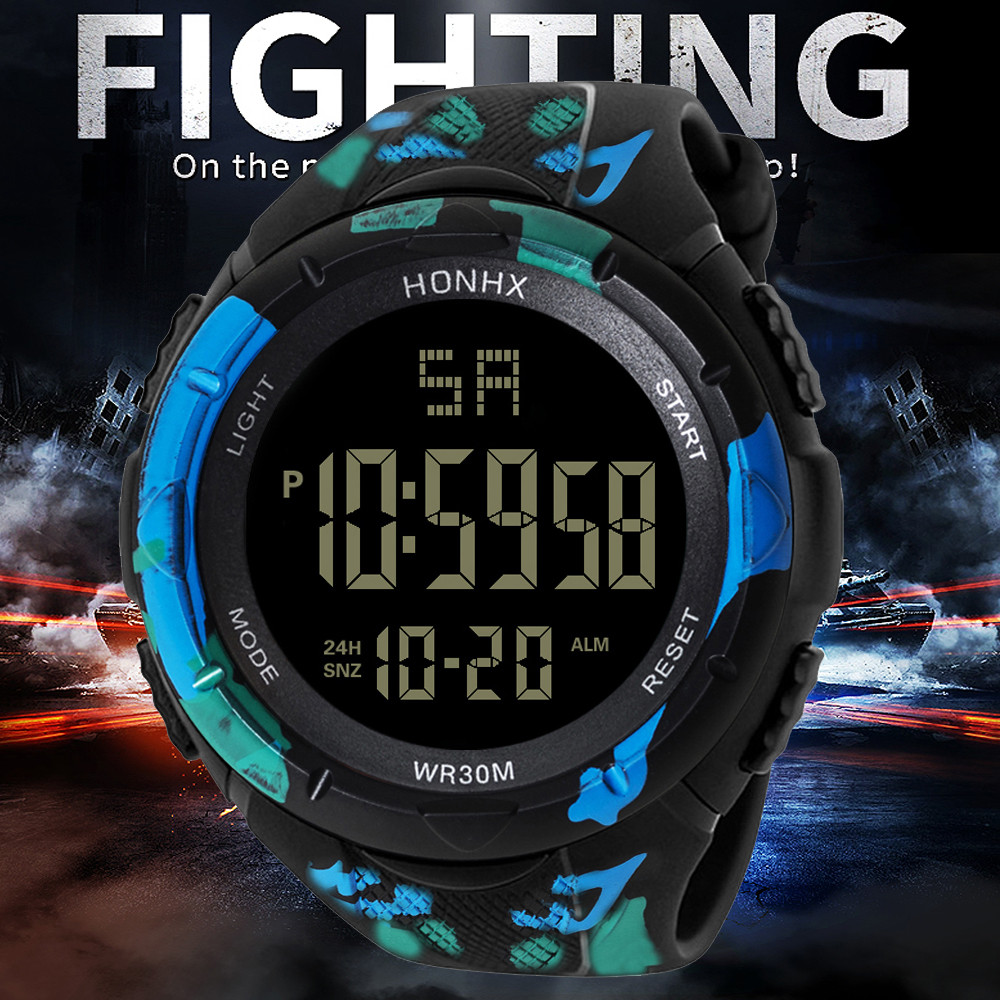 Digital Watch Men Women Relogio Sport Mens LED Digital Date Alarm Waterproof Sports Army Quartz Watch 2019