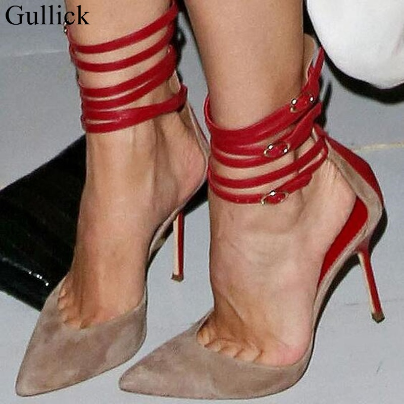Gullick Red Ankle Straps High Heels Pumps Pointed Mixed Colors Patchwork Cut-out Thin Dress Shoes Sexy Strappy Sandals