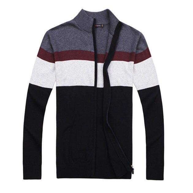 2017 Herbst Marke Casual Men Pullover Langarm Herren Striped Strick Reißverschluss Cardigan Slim Fit Patchwork Strickjacke Herren SchöN In Farbe