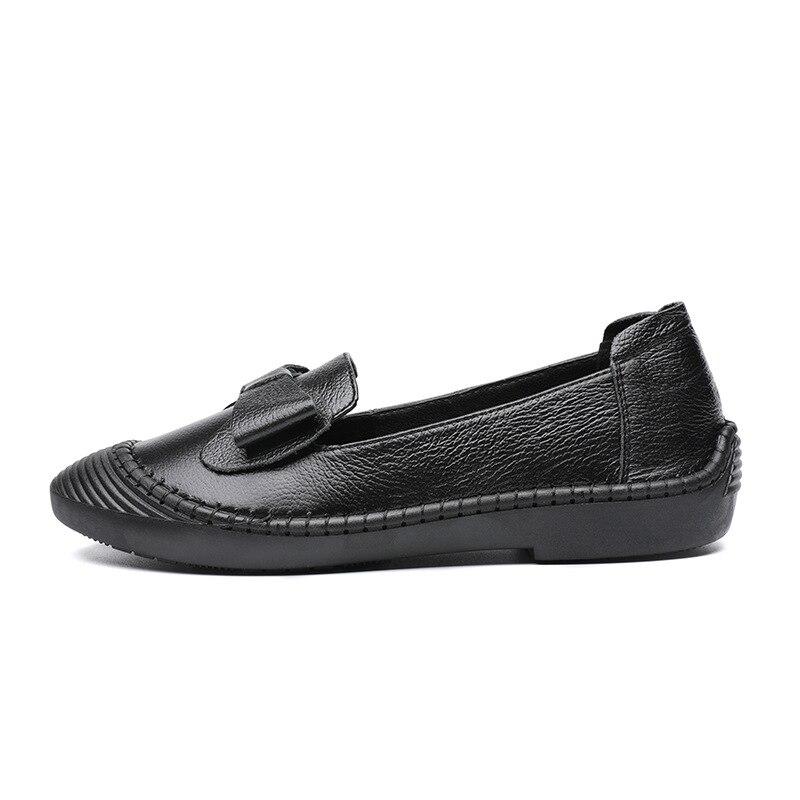 Plat 2018 Confortables À Semelle Nouveau Noir De chocolat glissement Souple Femmes Arc Cuir Chaussures Des Non Mode Chaussures Simples q7qgrvn