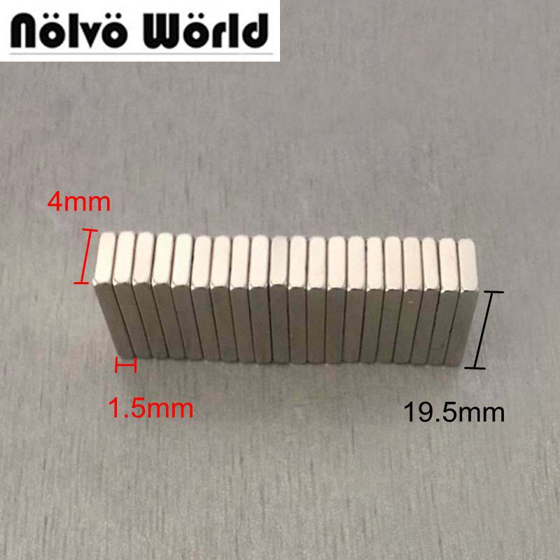 19.5X4X1.5mm neodymium magnet block rare earth strong bulk super invisible magnets for bags handbags sewing 10pcs n50 mini super strong rare earth fridge permanent magnet small round neodymium magnet 12 x 1mm sy2