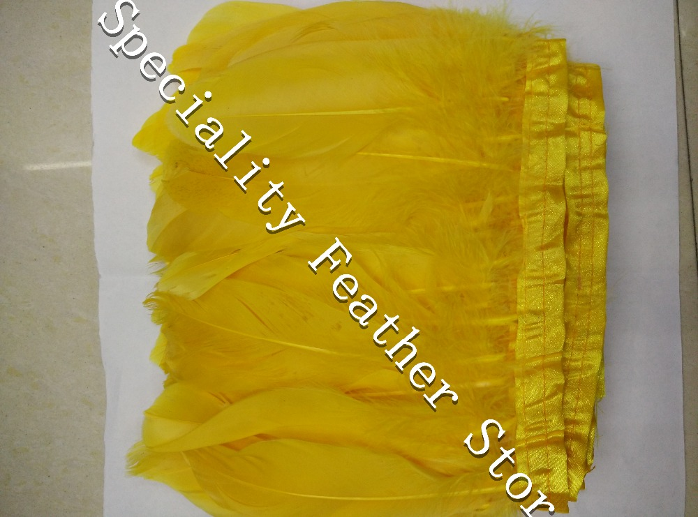 Free shipping 2m/lot 4-6(15-17cm) Gold yellow goose feather fringe Feathers Trimming Duck Feather Ribbon