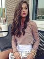 Cuerpo Limitado Apliques Blusas de Las Mujeres de Descuento 2015 Otoño Nueva Gran Tamaño de Las Mujeres Atractivas de La Manera Camisa de Gasa de manga larga