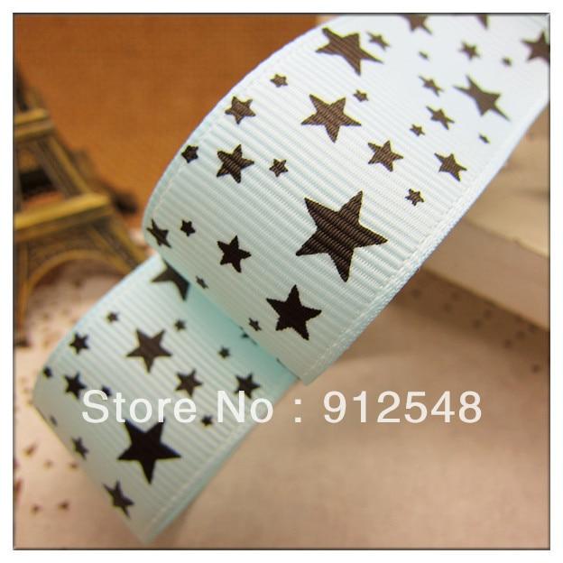 Бесплатная доставка 1 «(25 мм) ширина, принт со звездой голубой лентой полиэстер Grosgrain ленты, DIY hairbow аксессуары, подарочная упаковка, XX001