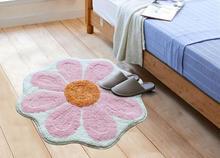 65*65cm Pink/green/grey Flower Shaped Rug Absorbent Mat Foot Pad Bathroom