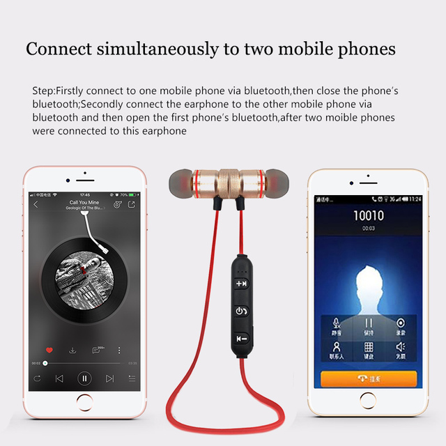 Magnetic Wireless Headphone Bluetooth Earphone Ear Hook Headset For IPhone Samsung Xiaomi Sport Bluetooth Headphone Earbuds