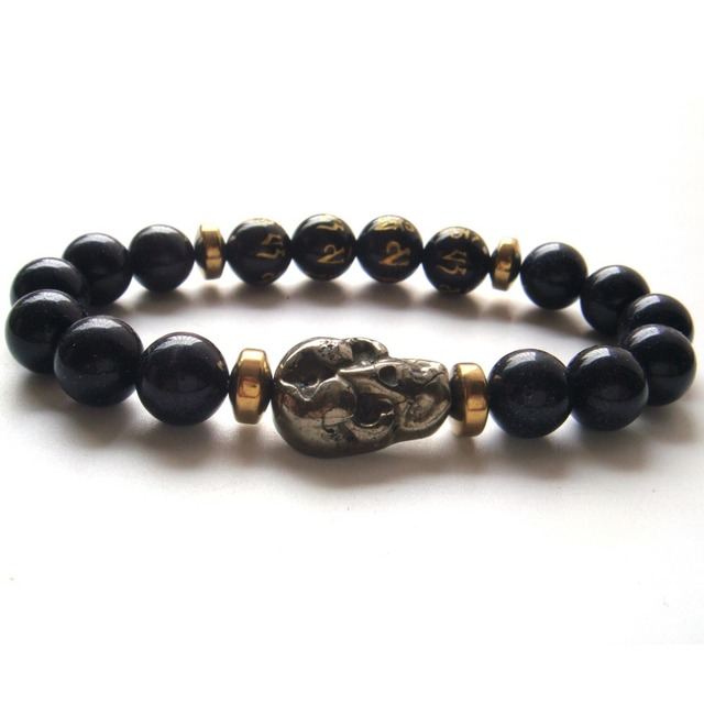 2017 1PC Blue Sand Pyrite Skull Tibetan Agate 6 Syllable Mantra Beads Stretch Bracelet Gift Box
