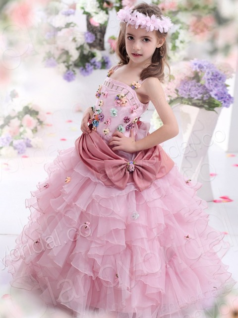 c04490bac17 2014 Hot Sale flowers Kids Fantasy Prom Princess Pageant Colourful Flower  Girl Dresses g00584