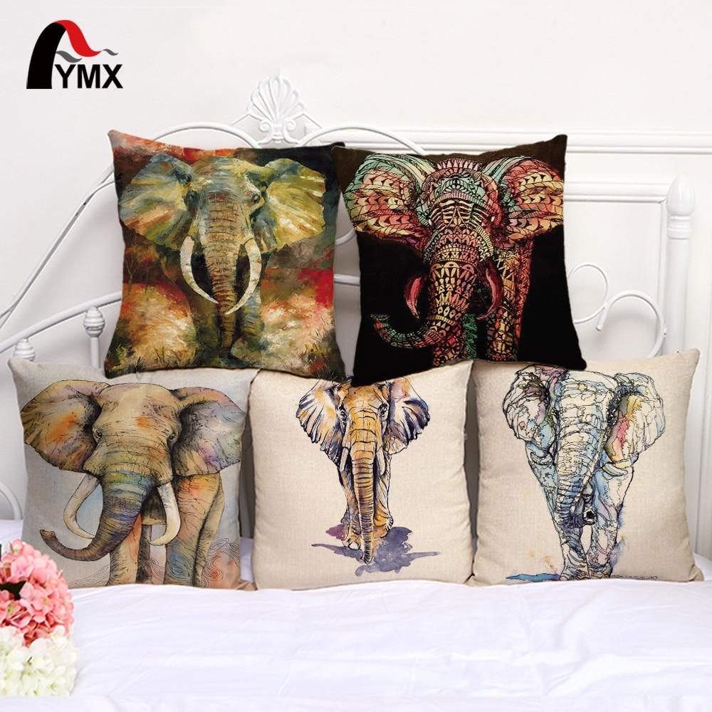 Cushion Cover For Soft Cotton and Linen Decorative Animal Pillowcase 45*45cm Mandala Fashion Pillow Cases Elephant Home Decor