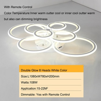 Double Glow Modern led chandelier for living room bedroom study room remote controller dimmable ceiling chandelier AC90-260V 13