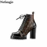 Nefangjo/2018 зимняя обувь, женские ботильоны из натуральной кожи на шнуровке, Женские повседневные удобные нескользящие короткие ботинки, botas Mujer