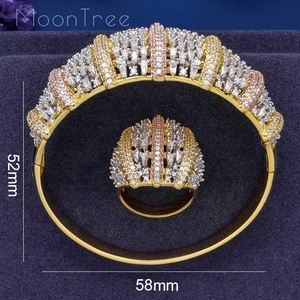 Image 5 - MoonTree Fashion Luxury Super 3 Tone Boom Flowers AAA Cubic Zirconia Women Party Engagement Width Bracelet Bangle And Ring Set