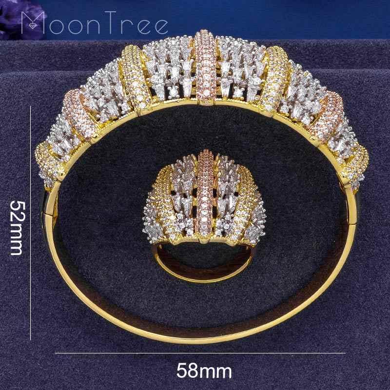 Moontree moda luxo super 3 tom boom flores aaa zircônia cúbico feminino festa de noivado largura pulseira e anel conjunto