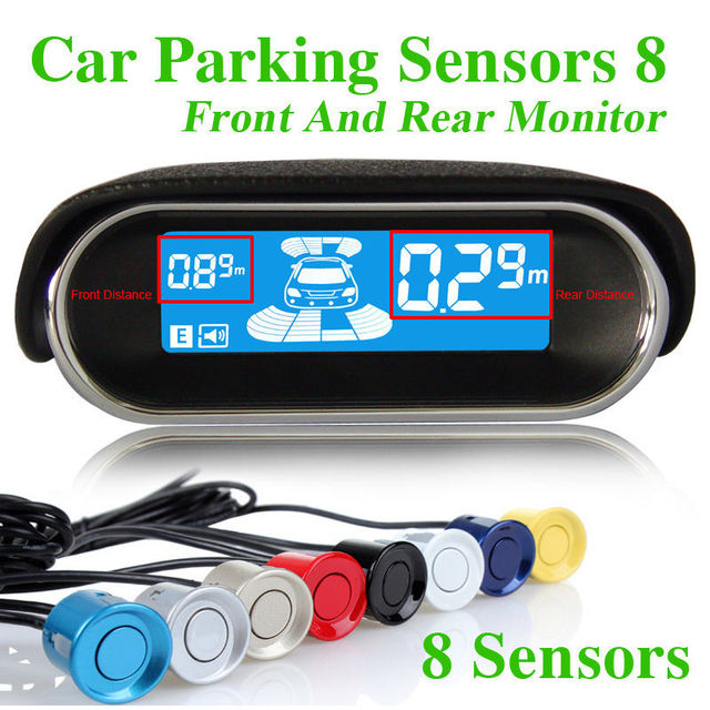 Car Parking Sensors 8 Front Rear View Reverse Backup Radar Kit System LCD Display Monitor Electronics Accessories