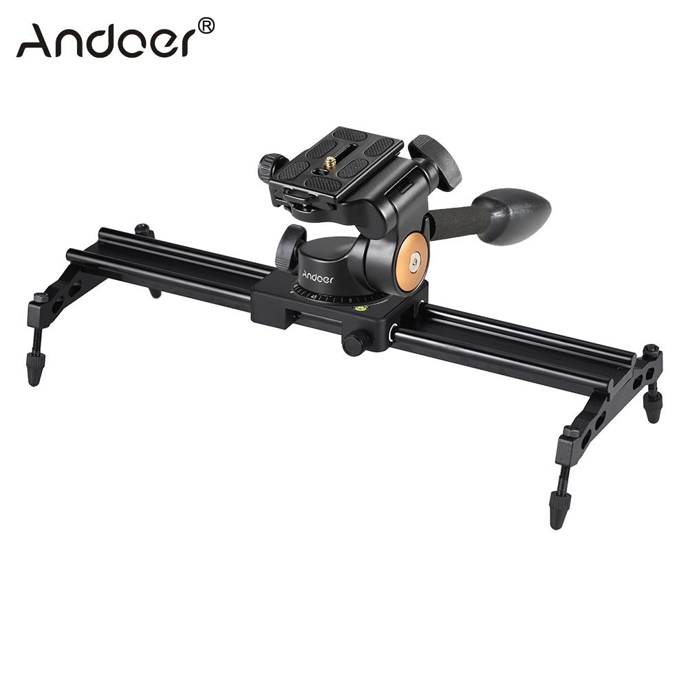 Andoer 40cm Camera Track Dolly Slider Stabilizer Rail System + Andoer Q08 Video Tripod Ball Head 3-way Fluid Head Quick Release