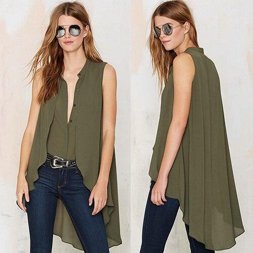 Summer Fashion font b Women s b font V Neck Sleeveless Irregular Back Long font b