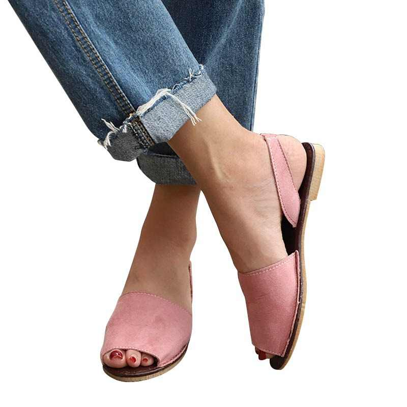 82daea63 Women Flat Summer Sandals Ladies Gladiator Peep Toe Elastic Band Fashion  Platform Shoes Plus Size Female