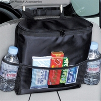 Insulated Car Auto Seat Back Organizer Multi Pocket Travel Storage Bag Drink Holder With Mesh Pockets