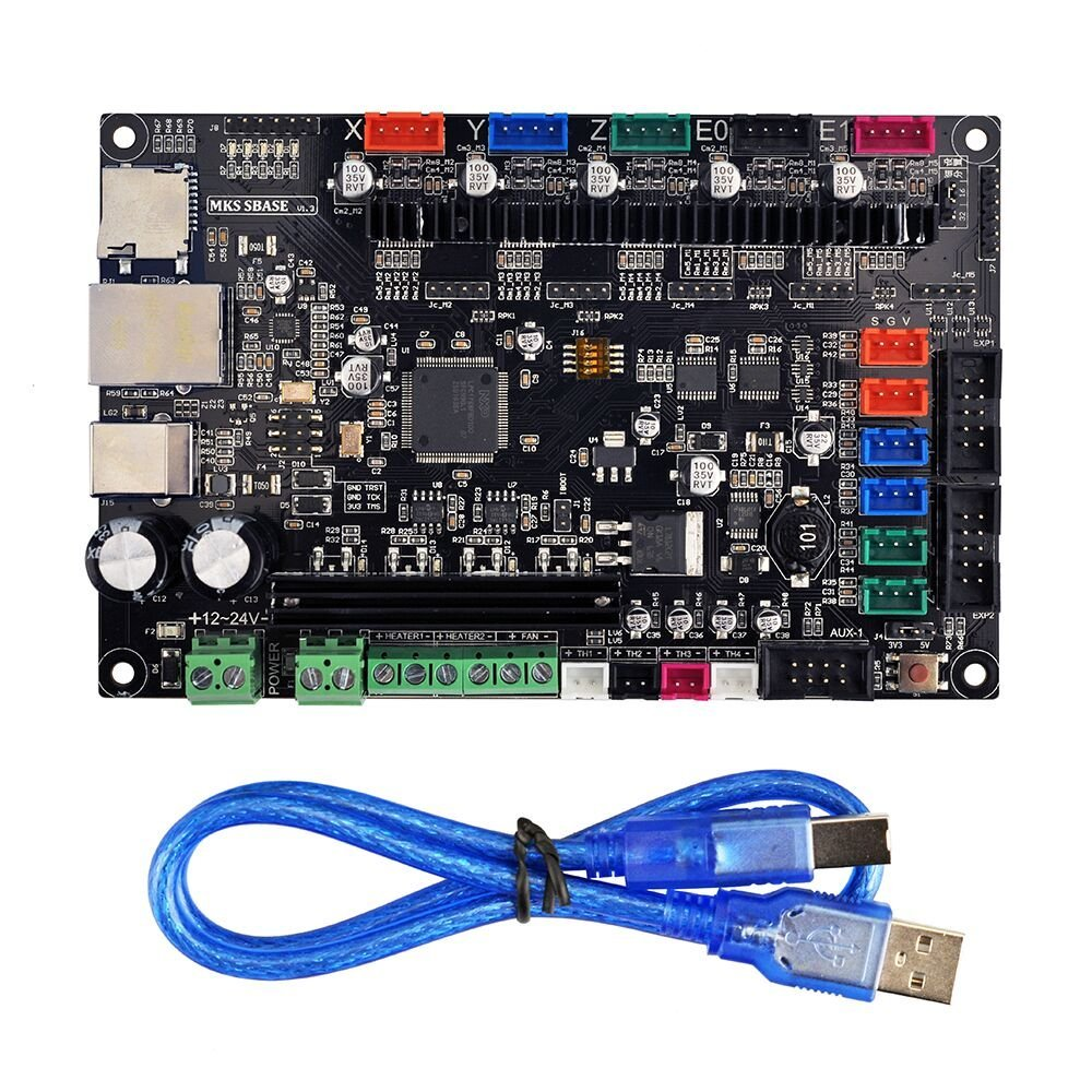 3D printer part MKS SBASE V1.3 controller board opensource 32bit Smoothieboard support Ethernet preinstalled heatsink for 3d printer part mks base2 v1 2 good for metal chassis preset sd card slot perfect anti interference excellent stability