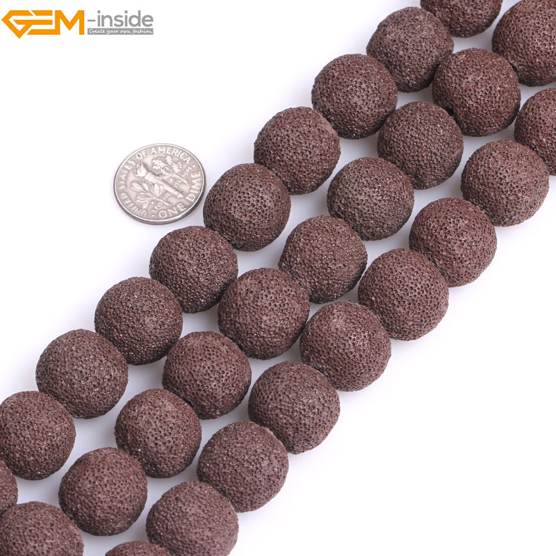 Gem-inside Natural Round Brown lava rock Loose Stone Beads For Jewelry Making Bracelet N ...