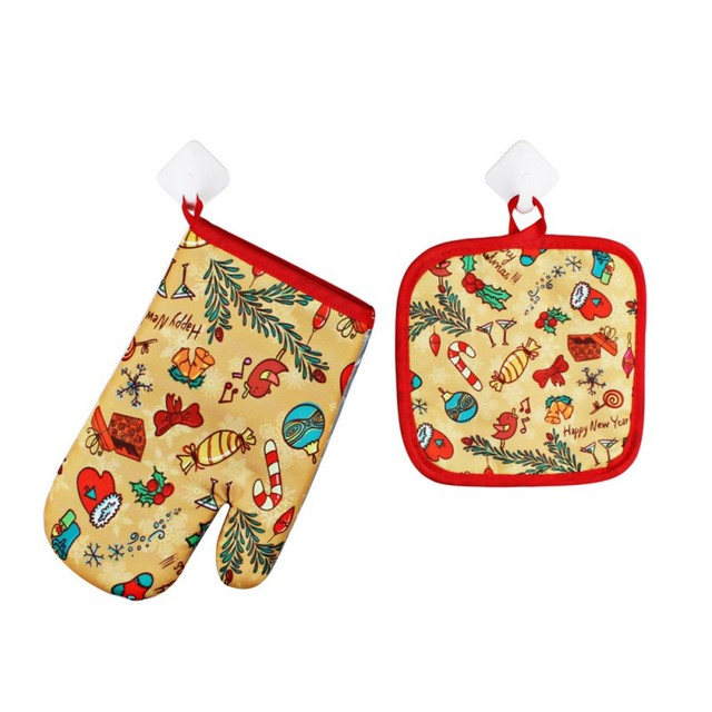 1 Set Christmas Baking Anti-Hot Gloves And Pad Oven And Microwave Insulation Mat For Home Xmas Party Decoration Supply
