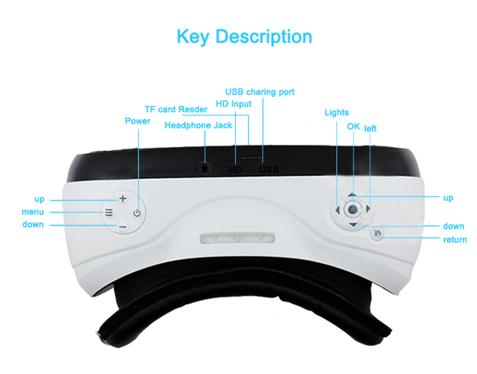 3D VR Glasses VR All In One Virtual Reality 3D Glasses For Android 5.1 HDMI 2K HD Display For PS 4 Xbox 360/One 13