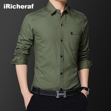 iRicheraf 2019 100% Cotton Mens Shirts M - 5XL Solid Men Shirt Street Wear Smart Casual Clothing Green Blue Black