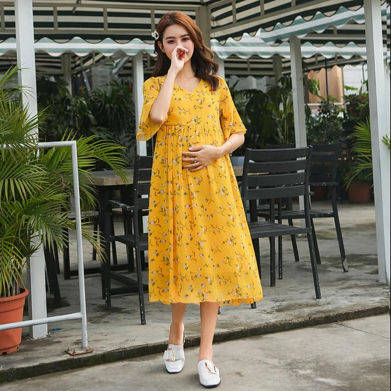 8216# Floral Printed Chiffon Maternity Maxi Long Dress 2019 Summer Fashion Clothes For Pregnant Women Elegant Pregnancy Clothing