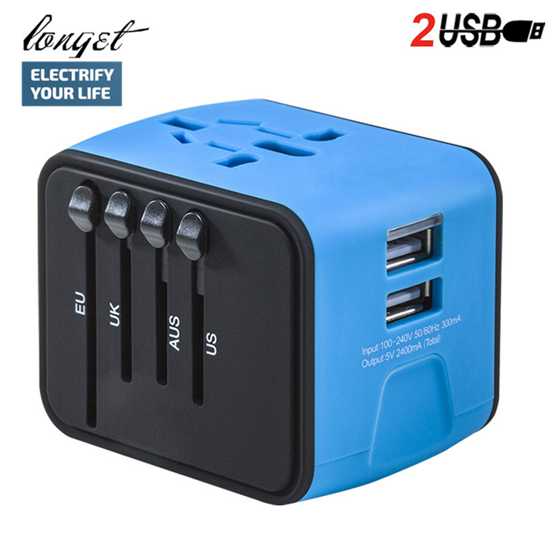 LONGET Universal Travel Adapter Iron-M All-in-one International Travel Charger 2.4A Dual USB Wall Charger for US, UK ,EU, AU