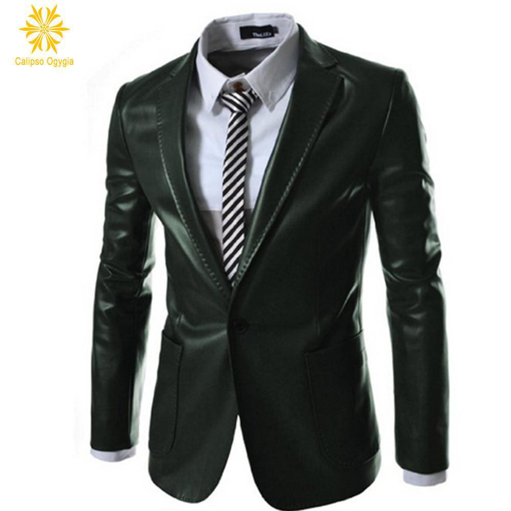 Retro Mens Warm Faux Leather Suit Coat Black Dark Green Formal ...