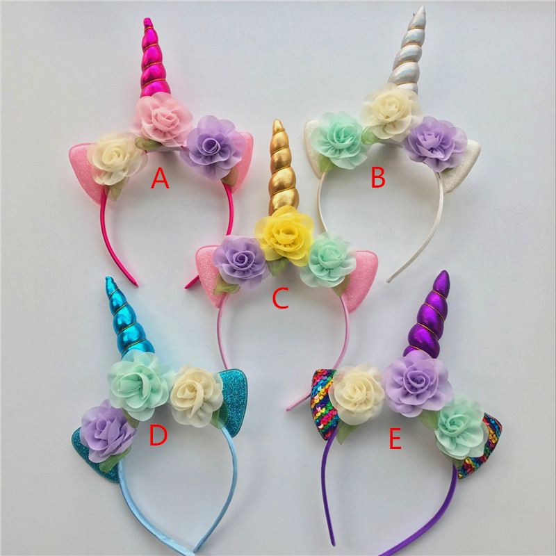 20pc Gold Silver Unicorn Headband For Girls Glitter Unicorn Horn Hair Band Kids And Adult Unicorn
