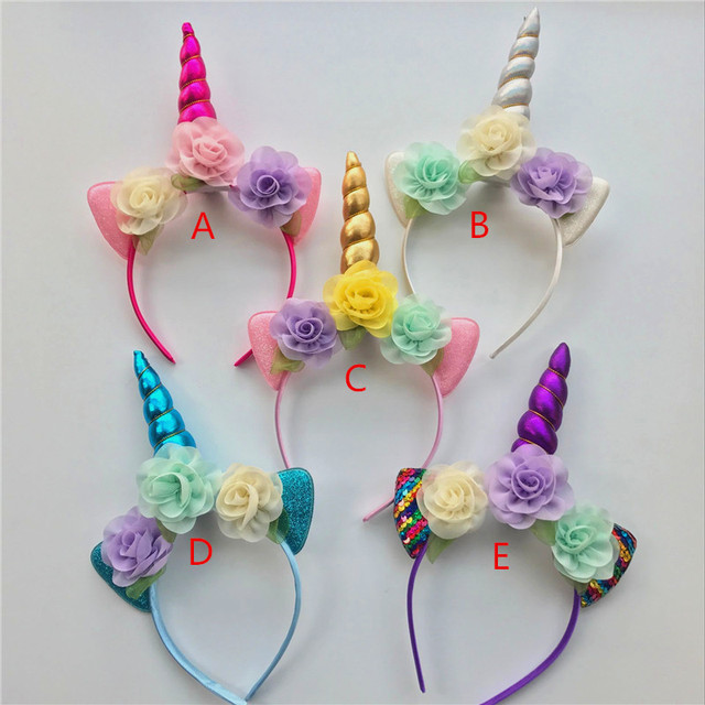 20pc Gold Silver Unicorn Headband For Girls Glitter Unicorn Horn Hair Band  Kids And Adult Unicorn Party DIY Hair Accessories 2fe7b5bc07a