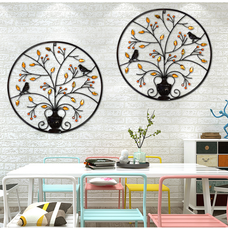 Metal Iron Circular Wall Decor Ornaments Creative Wall Decorations ...