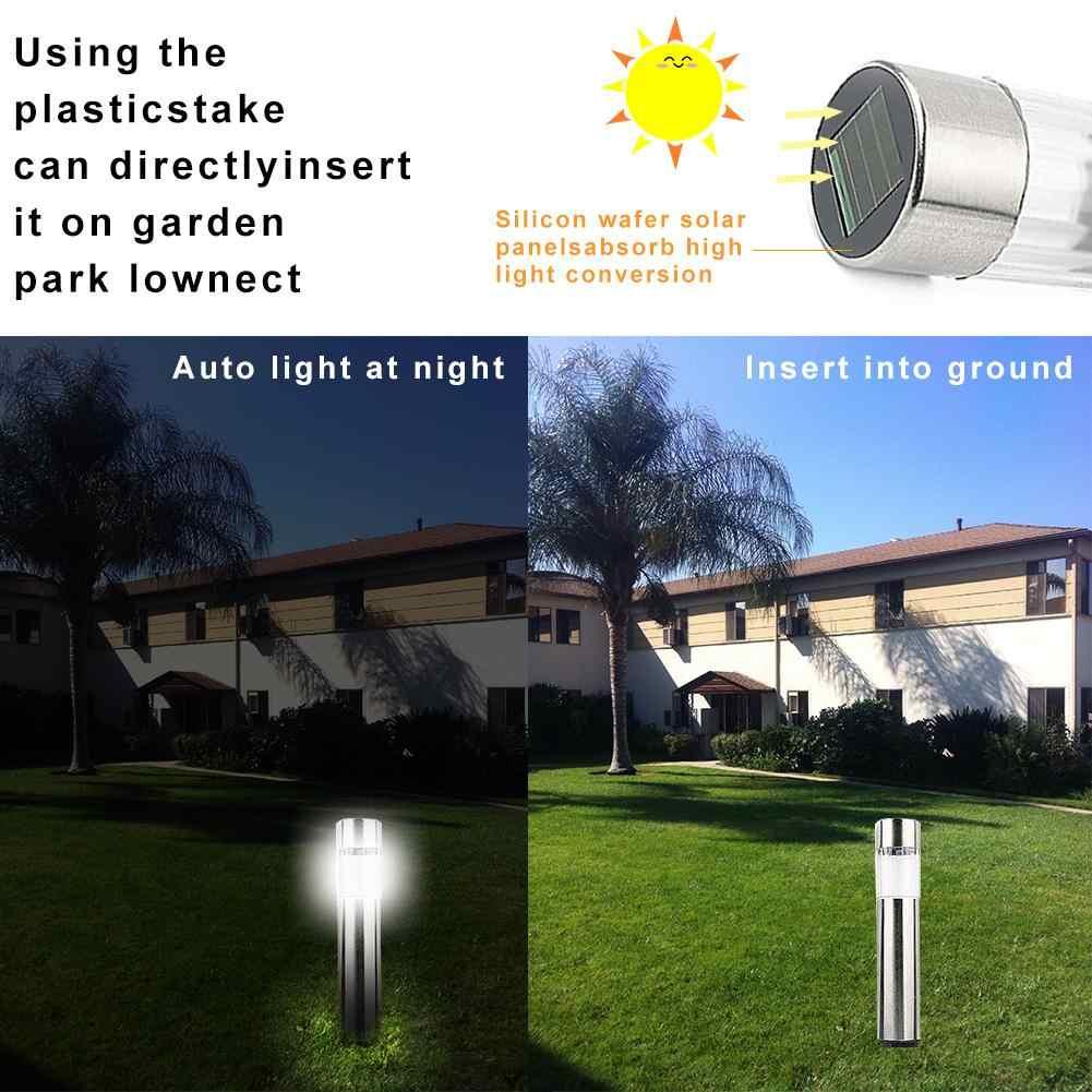 1 шт., светодиодная Солнечная уличная газонная лампа из нержавеющей стали, садовая дорожка, солнечный свет для газона световой столб, белый свет, светодиодная Солнечная лампа